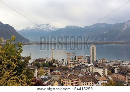 Beautiful City In Swiss Alps