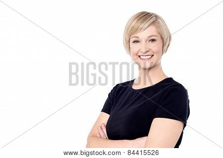 Smiling Woman Posing Casually