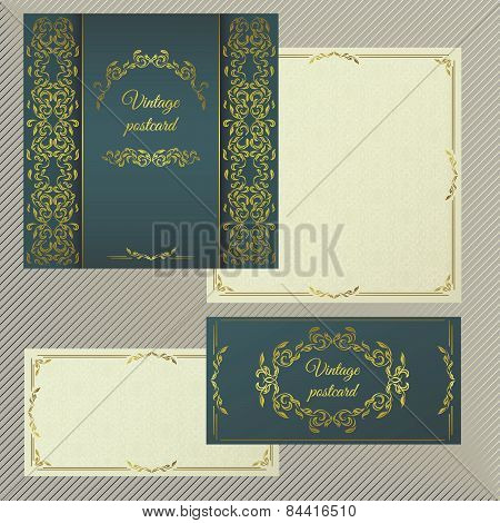 Greeting or invitation cards. Cover with vintage gold pattern and the inner side for text.