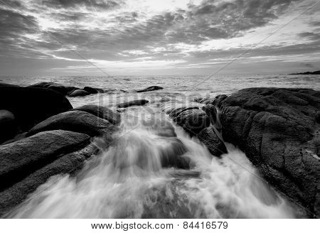 Wave Reaching The Stone Beach In Black Abd White, Thailand
