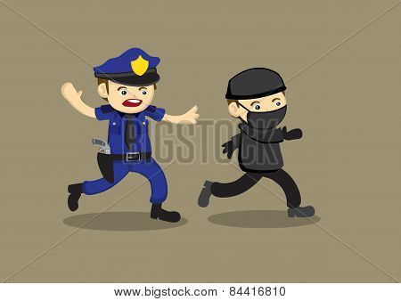 Policeman Chase Thief Vector Cartoon Illustration