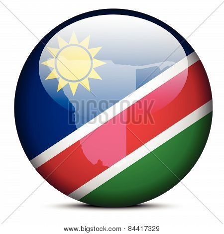 Map On Flag Button Of Republic  Namibia