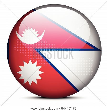 Map With Dot Pattern On Flag Button Of Federal Democratic Republic  Nepal