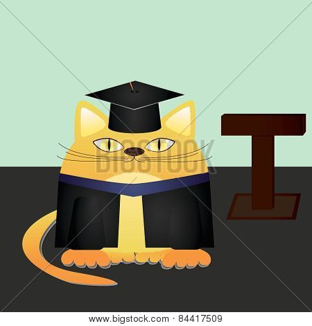 Vector illustration of a red cat graduate