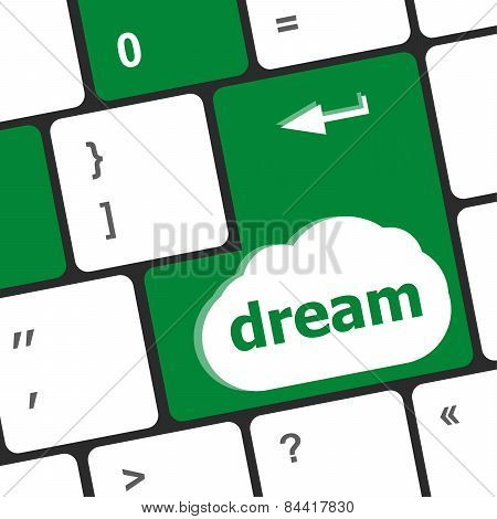 Dream Button Showing Concept Of Idea, Creativity And Success
