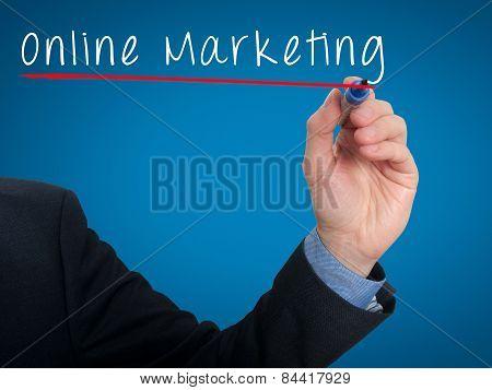 Businessman writing online marketing concept. Stock phtoto