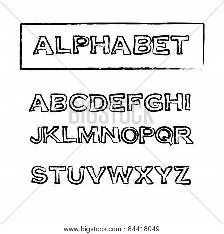 Vintage Rubber Stamp Outline Font, Vector Alphabet