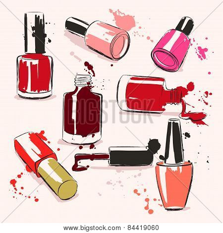 Hand Drawing Vector Illustration With Nail Polish