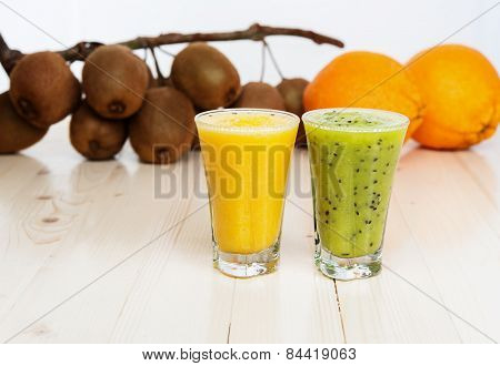 Cocktails from kiwi and orange
