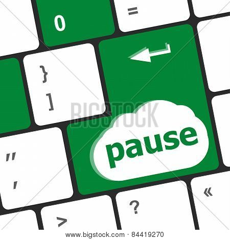 Computer Keyboard With Pause Key - Business Concept