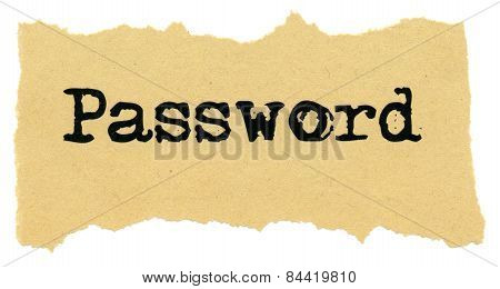 Password On Recycled Paper. Isolated On White Background.