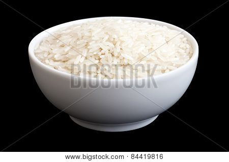 Bowl of long grain white rice.