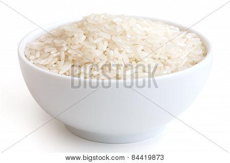 Bowl of long grain white rice.