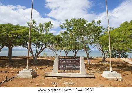Memorial plaque at the ruins of La Isabella settlement in Puerto Plata, Dominican Republic.