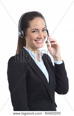 Happy Operator With Headset Attending On The Phone