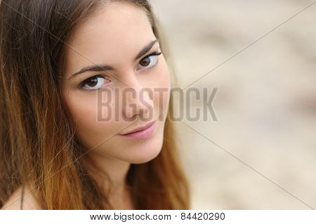 Portrait Of A Beautiful Woman With Big Eyes And Smooth Skin
