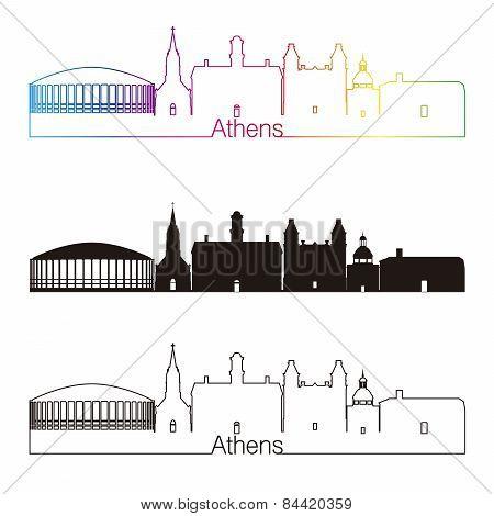 Athens Skyline Linear Style With Rainbow
