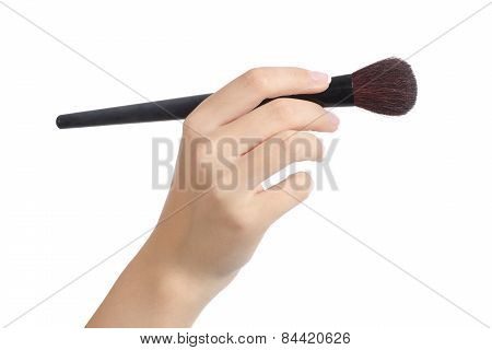 Woman Hand Using A Makeup Brush