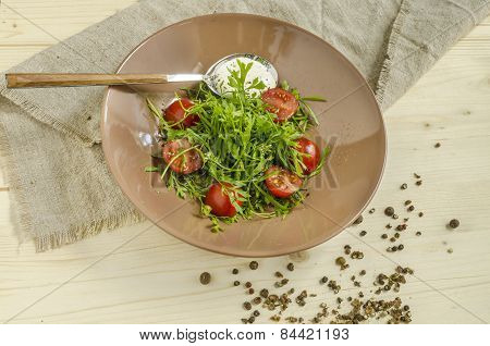 Watercress salad with cherry tomatoes and sour cream. Overhead view