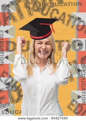 Happy Woman Student