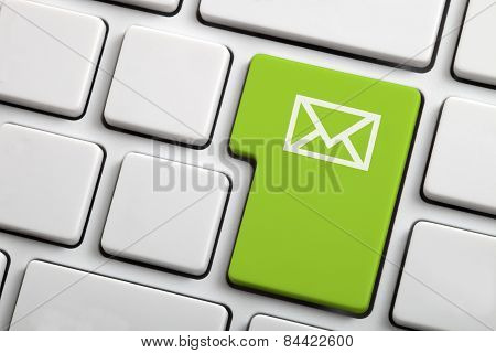 E-mail Envelope In A Green Computer Key