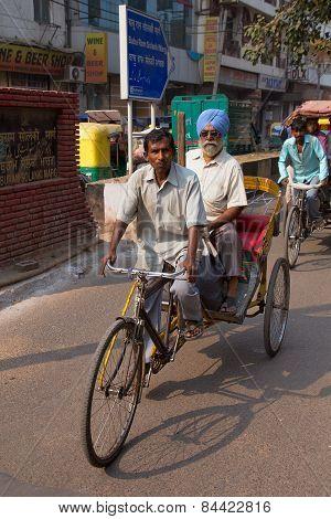 Delhi, India - November 5: Unidentified People Ride Cycle Rickshaw On November 5, 2014 In Delhi, Ind