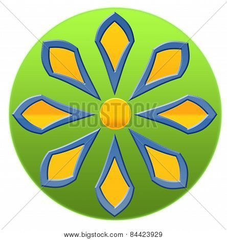 Green Yellow Blue Abstract Flower