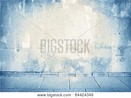 Brown,blue grunge concrete wall texture with sidewalk.