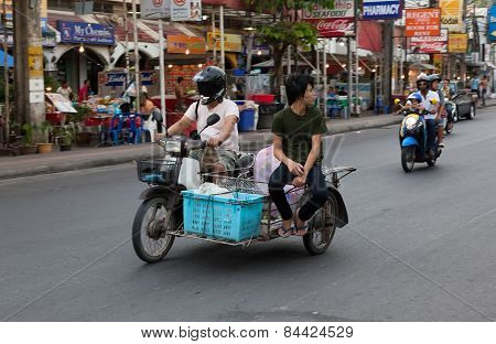 Patong - April 26: Motorcycles And Minibike On The Streets Of Thailand.