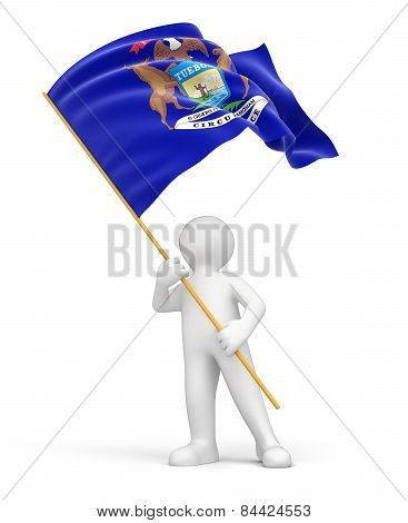 Man and flag of Michigan (clipping path included)