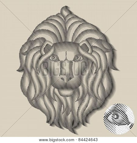 Lion head in engraving style
