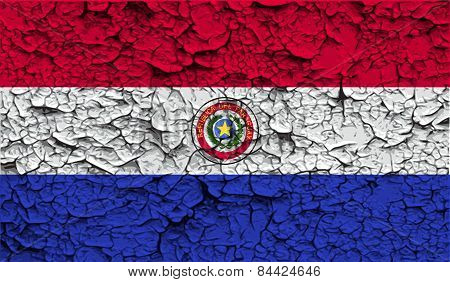 Flag Of Paraguay With Old Texture. Vector