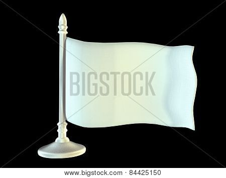 White blank flag on metal shiny flagpole. 3D generated image rendering