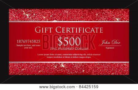 Luxury Red Gift Certificate With Borders Composed From Glitters