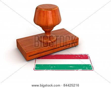 Rubber Stamp Hungarian flag (clipping path included)