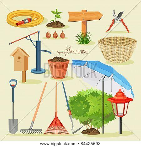 Spring gardening. Garden icon set
