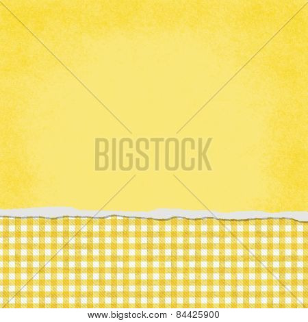 Square Yellow And White Gingham Torn Grunge Textured Background