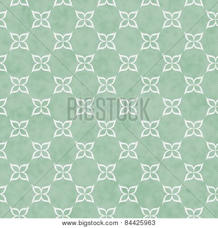 Pale Green And White Flower Symbol Tile Pattern Repeat Background