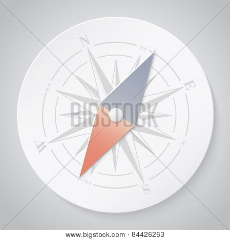 Paper compass. Vector illustration.