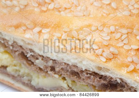 Background Of Bun With Sesame Seeds