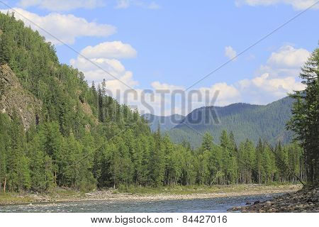 Rafting On A Siberian River Oka Among The Mountains Of Tien Shan