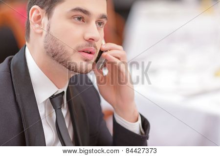 Attractive man visiting luxury restaurant