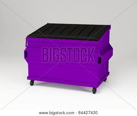 Purple trash box.