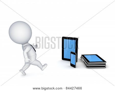 Tablet pc and mobile phone.