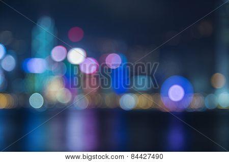 Bueautiful night bokeh at harbour in hongkong