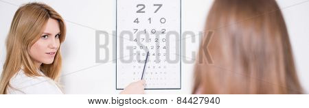 Ophthalmologist Using Snellen Chart