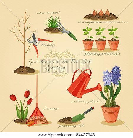 Spring gardening to do list. Card gardener set.