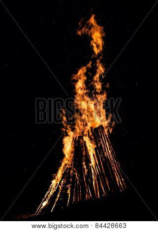 Big Bonfire At Night