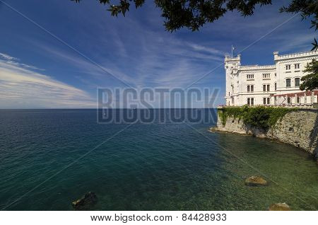 Rocks, Adriatic Sea  And Miramare Castle