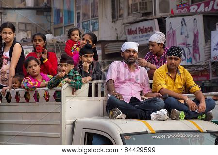 Delhi, India - November 5: Unidentified People Take Part In Guru Nanak Gurpurab Procession On Novemb